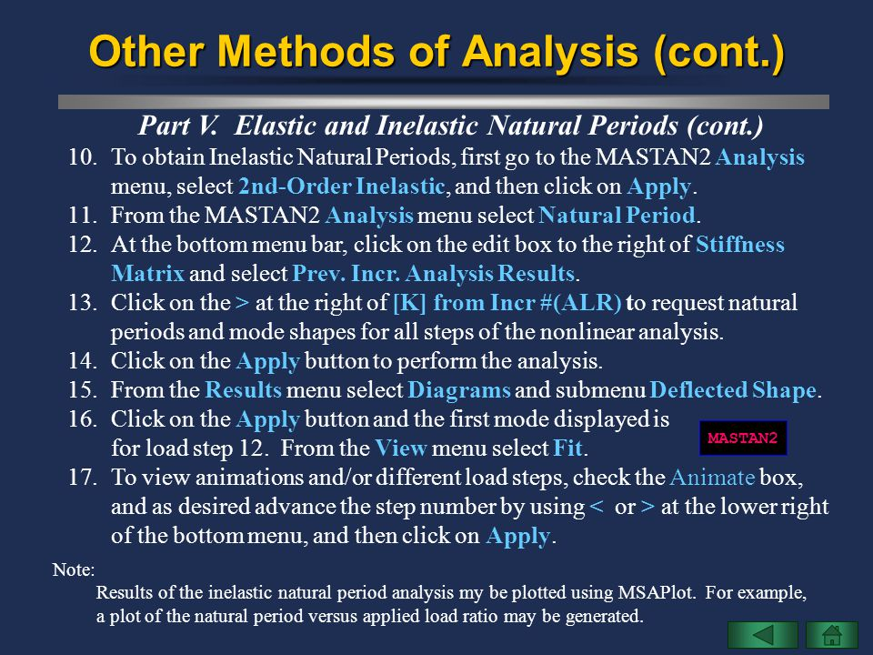 Other Methods of Analysis (cont.) Part V. Elastic and Inelastic Natural Periods (cont.) 10.To obtain Inelastic Natural Periods, first go to the MASTAN