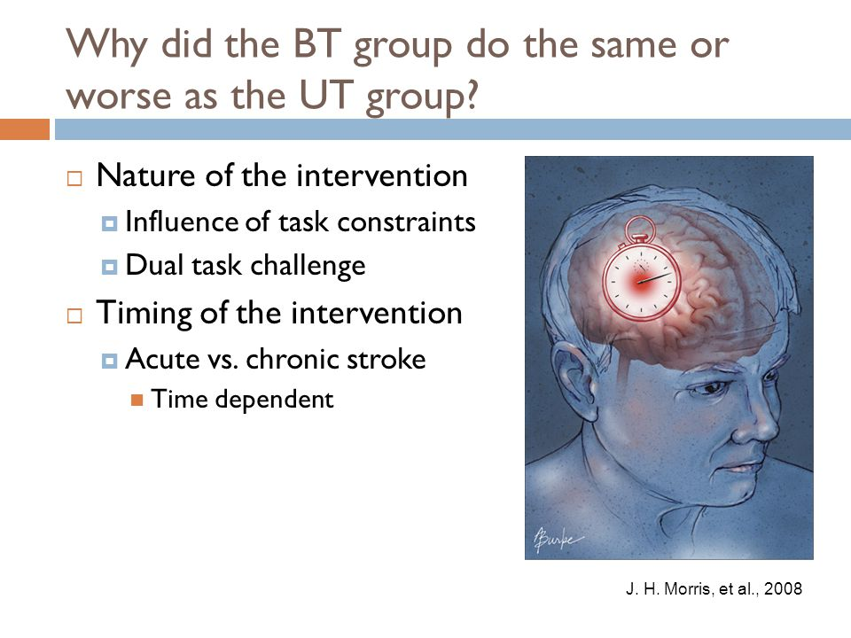 Why did the BT group do the same or worse as the UT group?  Nature of the intervention  Influence of task constraints  Dual task challenge  Timing