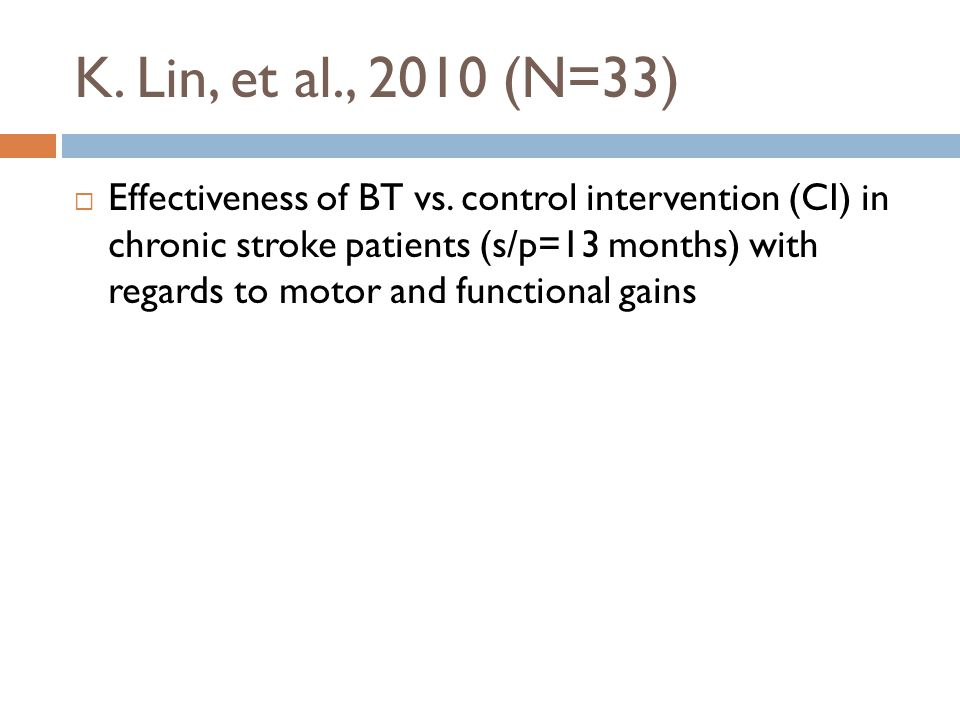 K. Lin, et al., 2010 (N=33)  Effectiveness of BT vs.