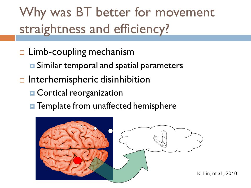 Why was BT better for movement straightness and efficiency?  Limb-coupling mechanism  Similar temporal and spatial parameters  Interhemispheric dis
