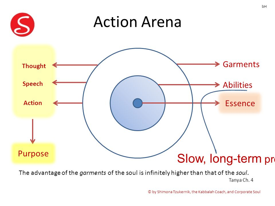 Action Arena © by Shimona Tzukernik, the Kabbalah Coach, and Corporate Soul Garments Abilities Essence bH Thought Speech Action Purpose Slow, long-term progress The advantage of the garments of the soul is infinitely higher than that of the soul.
