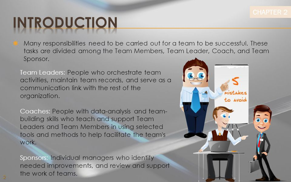 CHAPTER 2  Many responsibilities need to be carried out for a team to be successful.