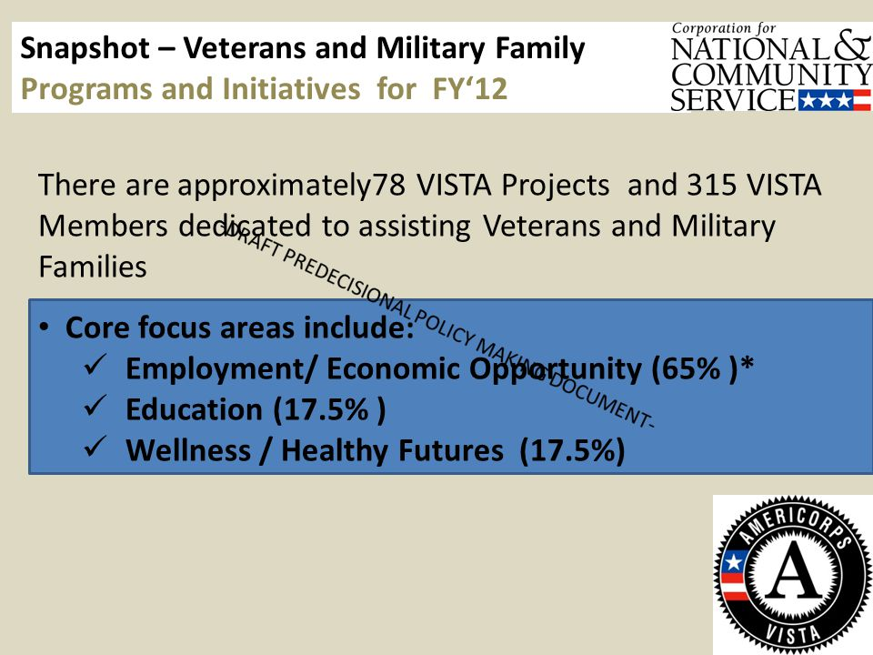 There are approximately78 VISTA Projects and 315 VISTA Members dedicated to assisting Veterans and Military Families Core focus areas include: Employment/ Economic Opportunity (65% )* Education (17.5% ) Wellness / Healthy Futures (17.5%) Snapshot – Veterans and Military Family Programs and Initiatives for FY'12