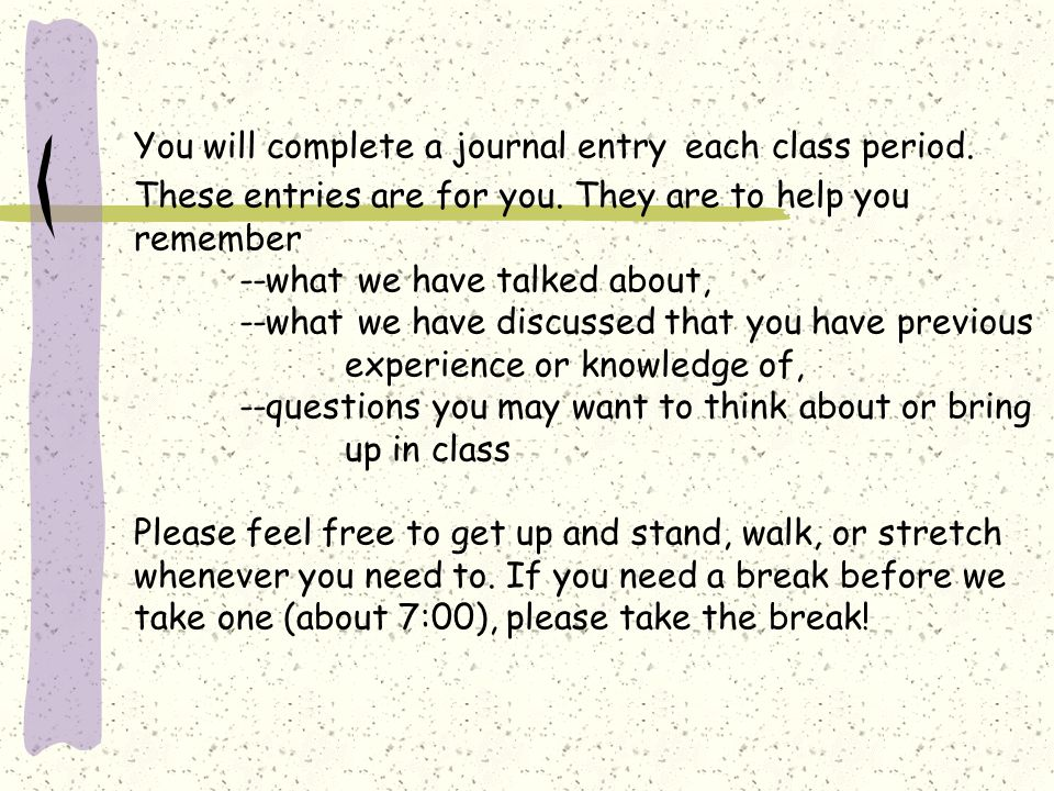 You will complete a journal entry each class period.