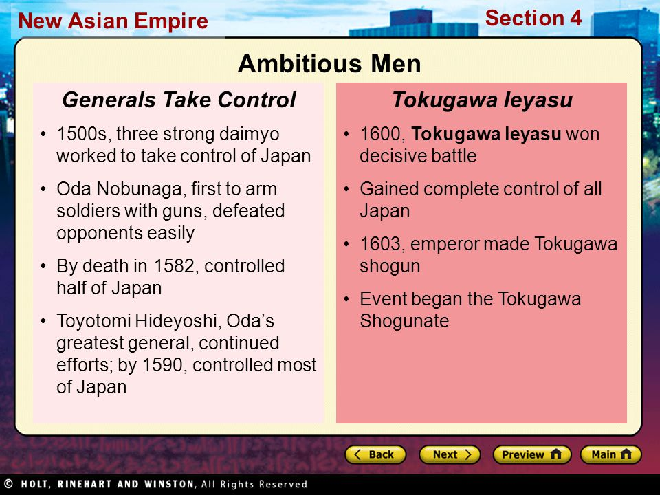 Section 4 New Asian Empire 1600, Tokugawa leyasu won decisive battle Gained complete control of all Japan 1603, emperor made Tokugawa shogun Event beg
