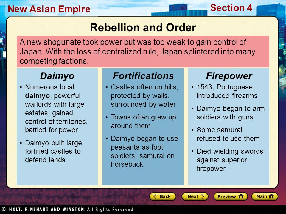 Section 4 New Asian Empire 1600, Tokugawa leyasu won decisive battle Gained complete control of all Japan 1603, emperor made Tokugawa shogun Event began the Tokugawa Shogunate Tokugawa Ieyasu 1500s, three strong daimyo worked to take control of Japan Oda Nobunaga, first to arm soldiers with guns, defeated opponents easily By death in 1582, controlled half of Japan Toyotomi Hideyoshi, Oda's greatest general, continued efforts; by 1590, controlled most of Japan Generals Take Control Ambitious Men