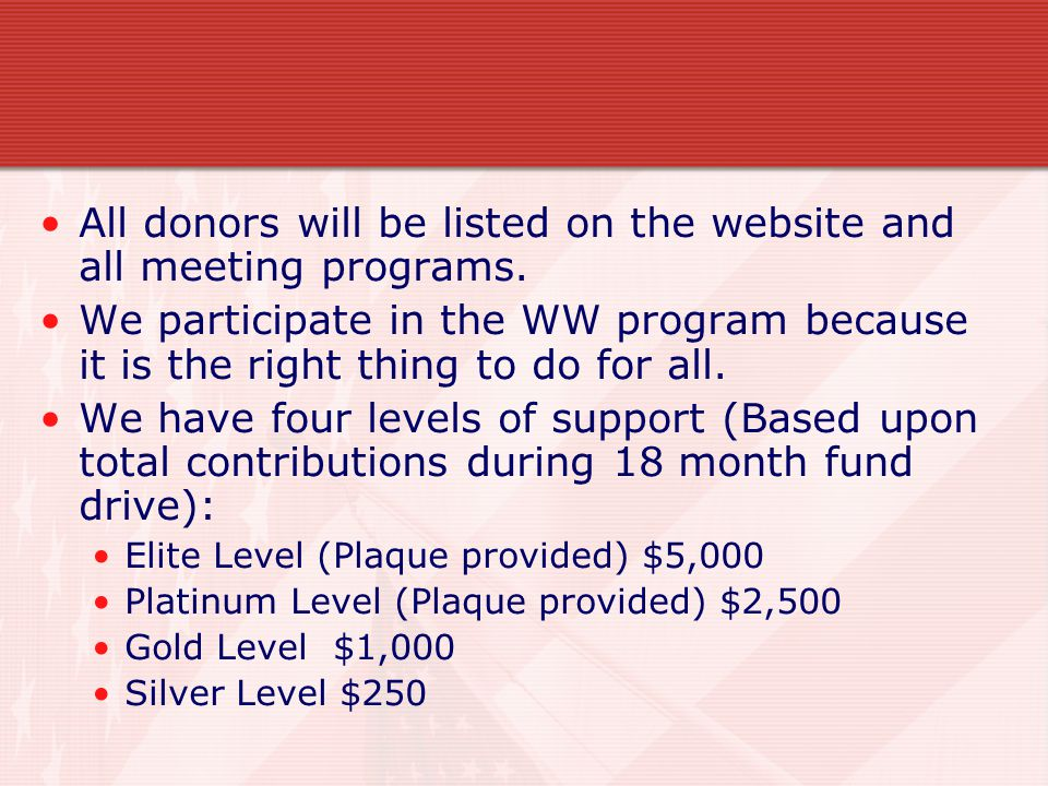 All donors will be listed on the website and all meeting programs.