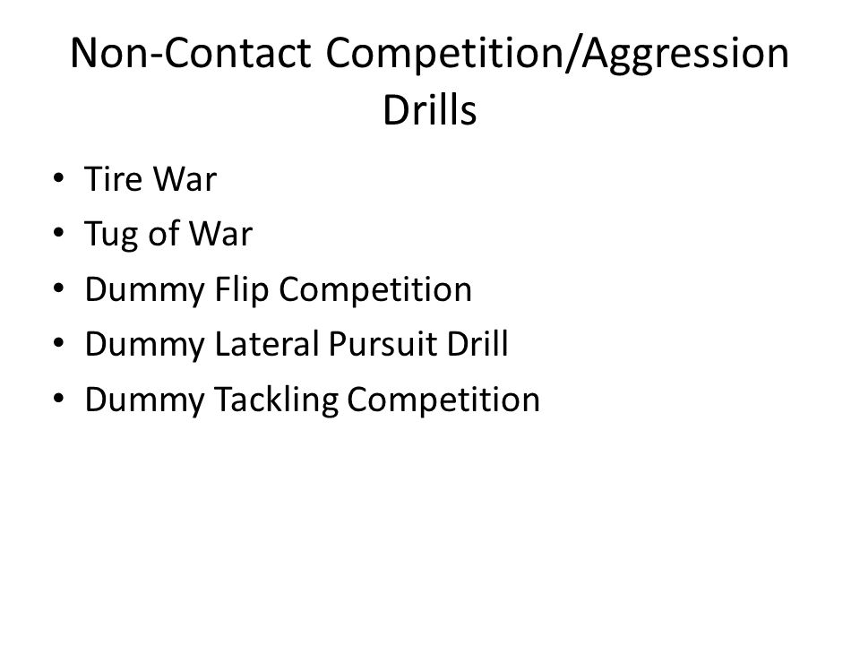 Non-Contact Competition/Aggression Drills Tire War Tug of War Dummy Flip Competition Dummy Lateral Pursuit Drill Dummy Tackling Competition