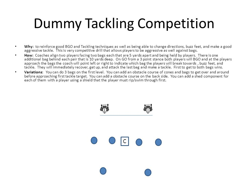 Dummy Tackling Competition Why: to reinforce good BGO and Tackling techniques as well as being able to change directions, buzz feet, and make a good aggressive tackle.
