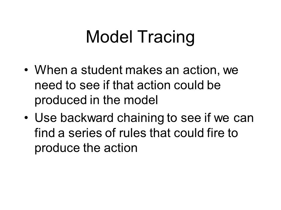 Model Tracing When a student makes an action, we need to see if that action could be produced in the model Use backward chaining to see if we can find