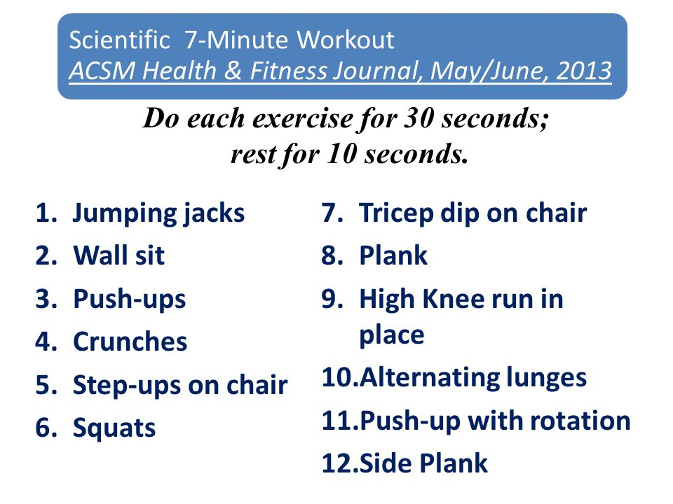 Scientific 7-Minute Workout ACSM Health & Fitness Journal, May/June, 2013 1.Jumping jacks 2.Wall sit 3.Push-ups 4.Crunches 5.Step-ups on chair 6.Squats 7.Tricep dip on chair 8.Plank 9.High Knee run in place 10.Alternating lunges 11.Push-up with rotation 12.Side Plank Do each exercise for 30 seconds; rest for 10 seconds.