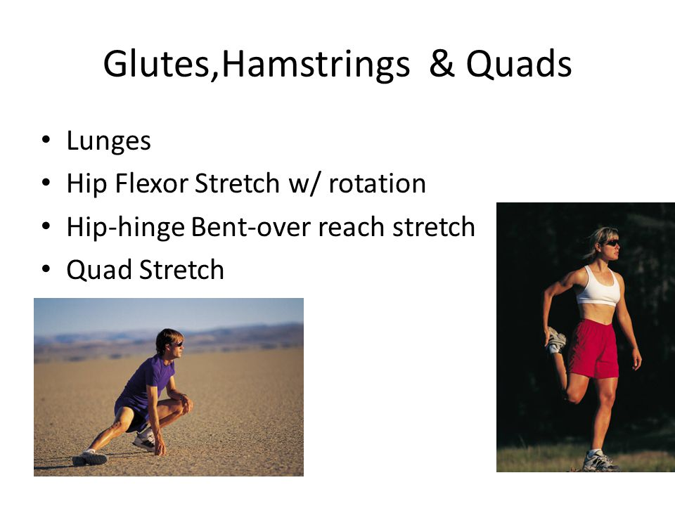 Glutes,Hamstrings & Quads Lunges Hip Flexor Stretch w/ rotation Hip-hinge Bent-over reach stretch Quad Stretch