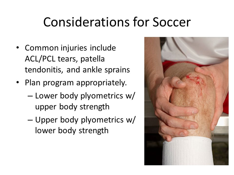 Considerations for Soccer Common injuries include ACL/PCL tears, patella tendonitis, and ankle sprains Plan program appropriately.