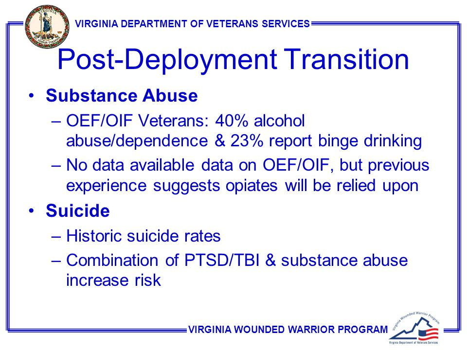 VIRGINIA WOUNDED WARRIOR PROGRAM VIRGINIA DEPARTMENT OF VETERANS SERVICES Post-Deployment Transition Substance Abuse –OEF/OIF Veterans: 40% alcohol abuse/dependence & 23% report binge drinking –No data available data on OEF/OIF, but previous experience suggests opiates will be relied upon Suicide –Historic suicide rates –Combination of PTSD/TBI & substance abuse increase risk
