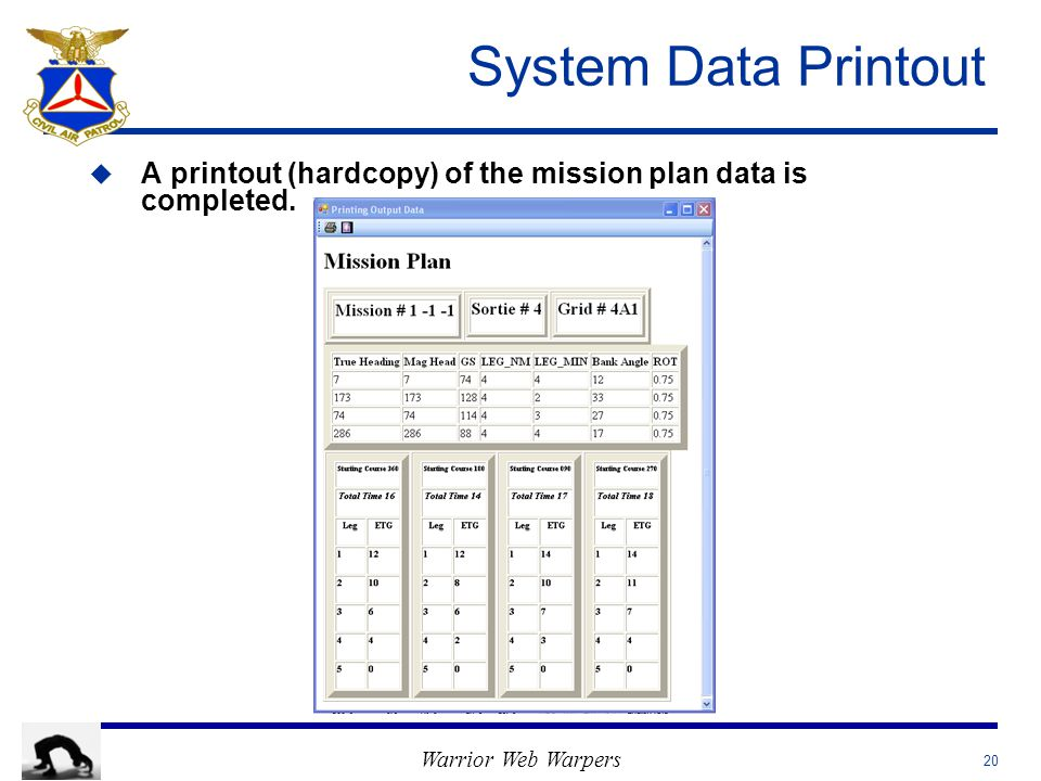 Warrior Web Warpers System Data Printout u u A printout (hardcopy) of the mission plan data is completed. 20