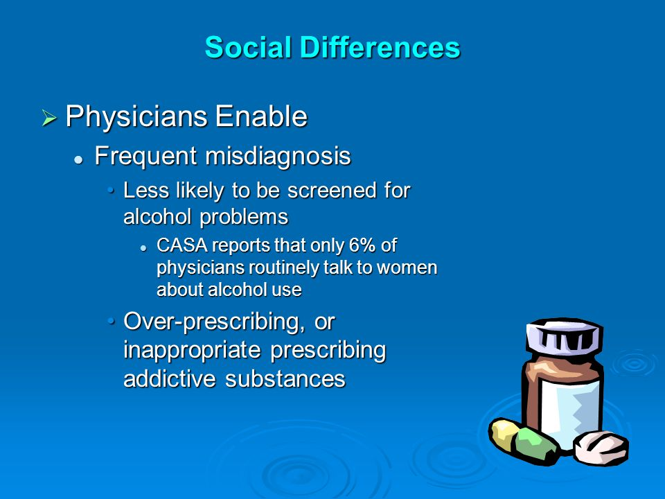 Social Differences  Physicians Enable Frequent misdiagnosis Frequent misdiagnosis Less likely to be screened for alcohol problemsLess likely to be screened for alcohol problems CASA reports that only 6% of physicians routinely talk to women about alcohol use CASA reports that only 6% of physicians routinely talk to women about alcohol use Over-prescribing, or inappropriate prescribing addictive substancesOver-prescribing, or inappropriate prescribing addictive substances