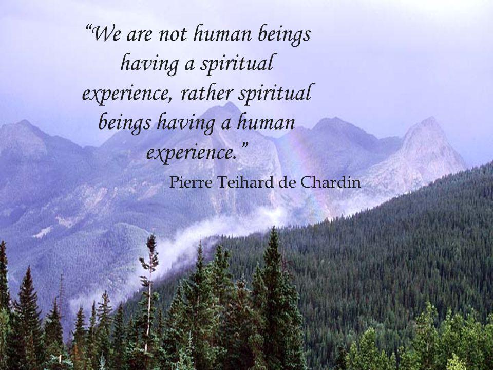 We are not human beings having a spiritual experience, rather spiritual beings having a human experience. Pierre Teihard de Chardin