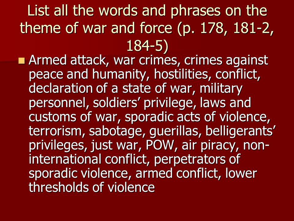 List all the words and phrases on the theme of war and force (p.