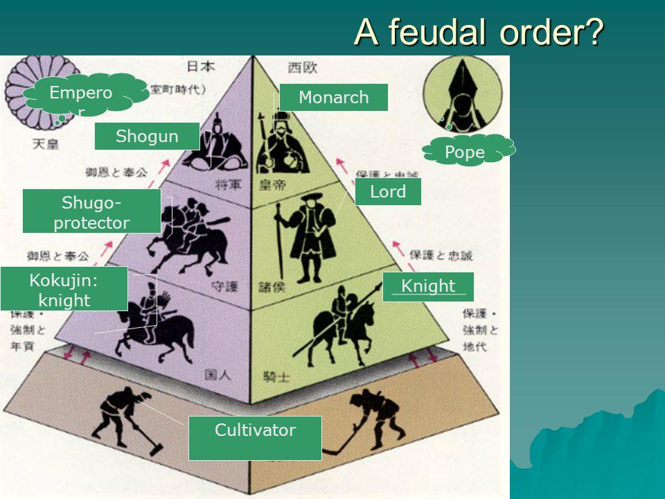 A feudal order? Monarch Lord Knight Cultivator Pope Empero r Shogun Shugo- protector Kokujin: knight