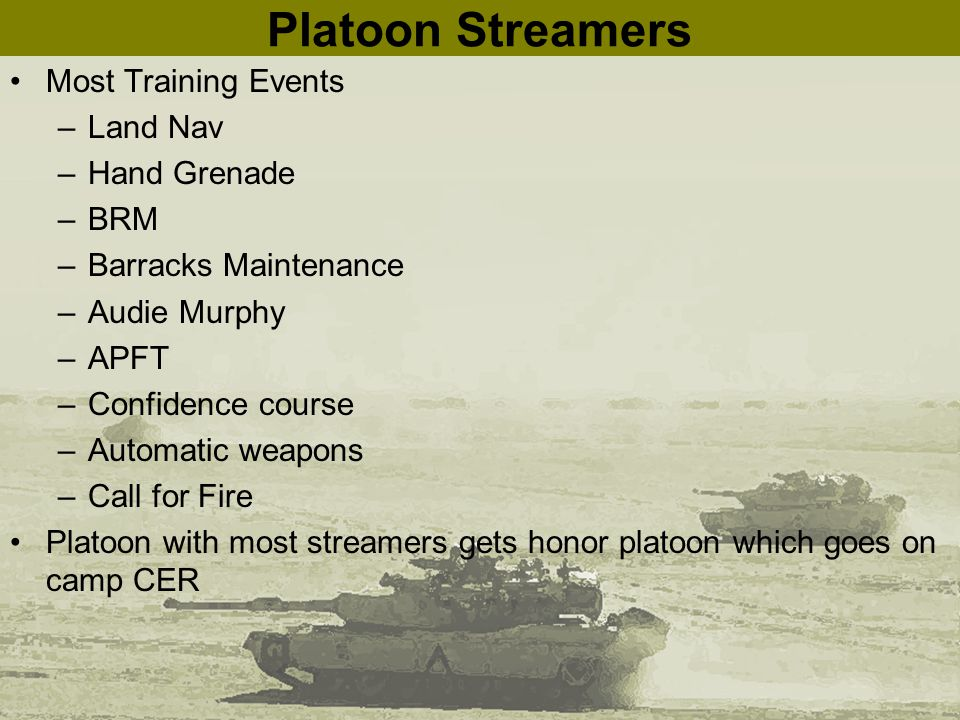 Platoon Streamers Most Training Events –Land Nav –Hand Grenade –BRM –Barracks Maintenance –Audie Murphy –APFT –Confidence course –Automatic weapons –Call for Fire Platoon with most streamers gets honor platoon which goes on camp CER