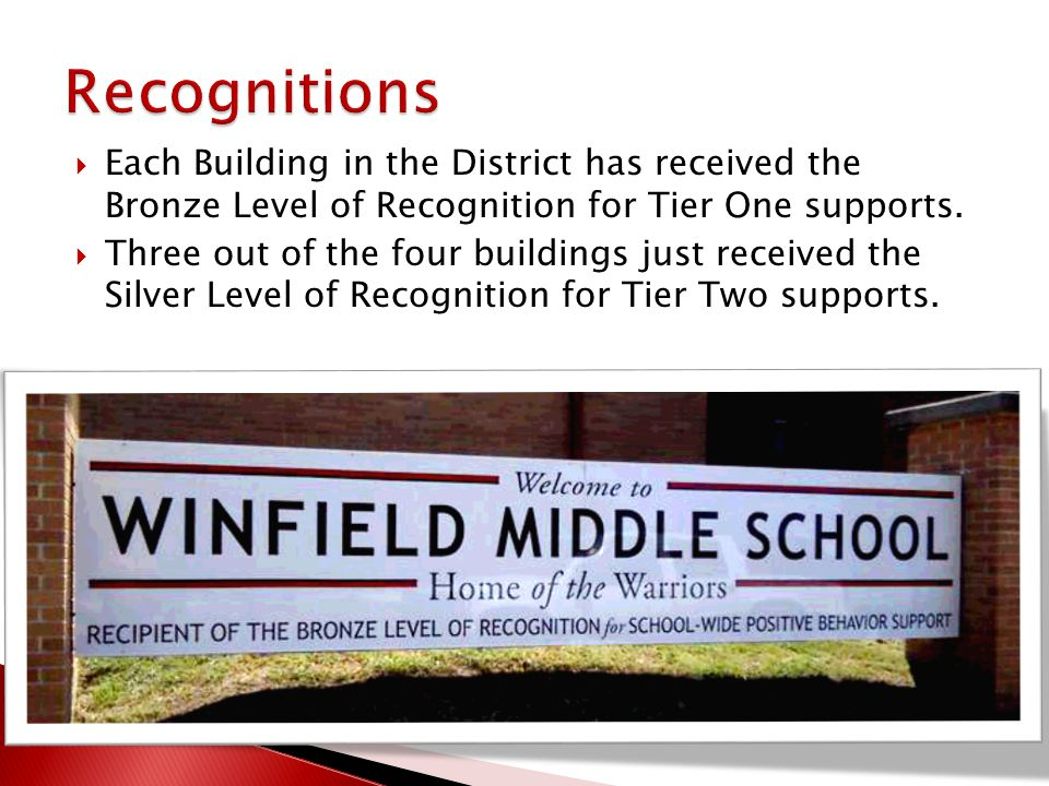  Each Building in the District has received the Bronze Level of Recognition for Tier One supports.