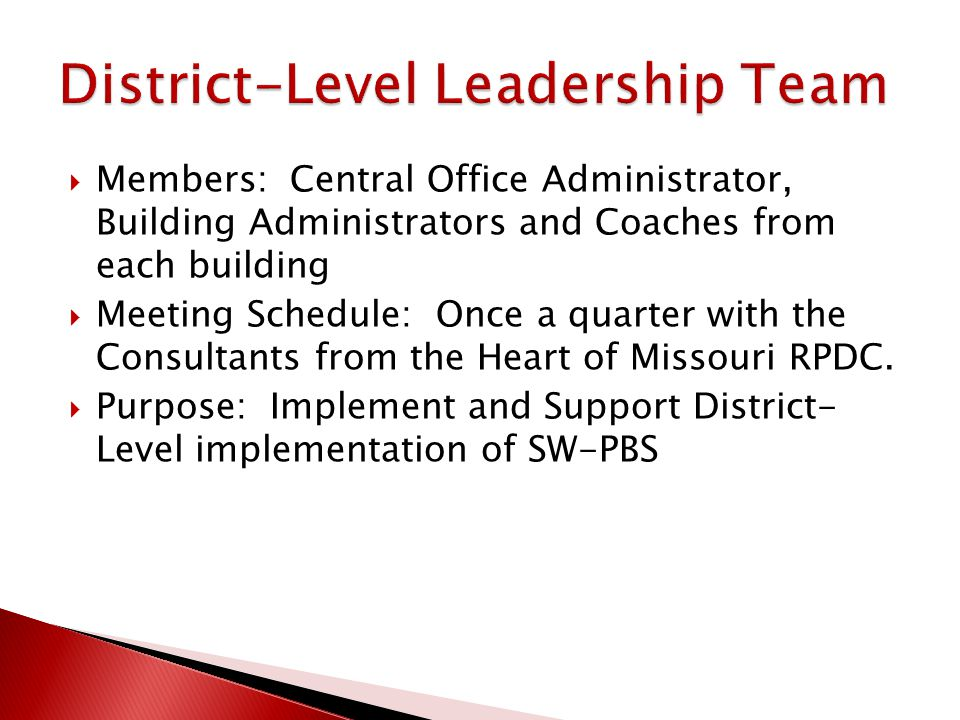  Members: Central Office Administrator, Building Administrators and Coaches from each building  Meeting Schedule: Once a quarter with the Consultants from the Heart of Missouri RPDC.