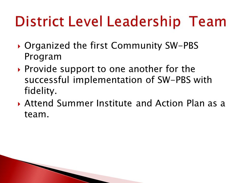  Organized the first Community SW-PBS Program  Provide support to one another for the successful implementation of SW-PBS with fidelity.  Attend Su