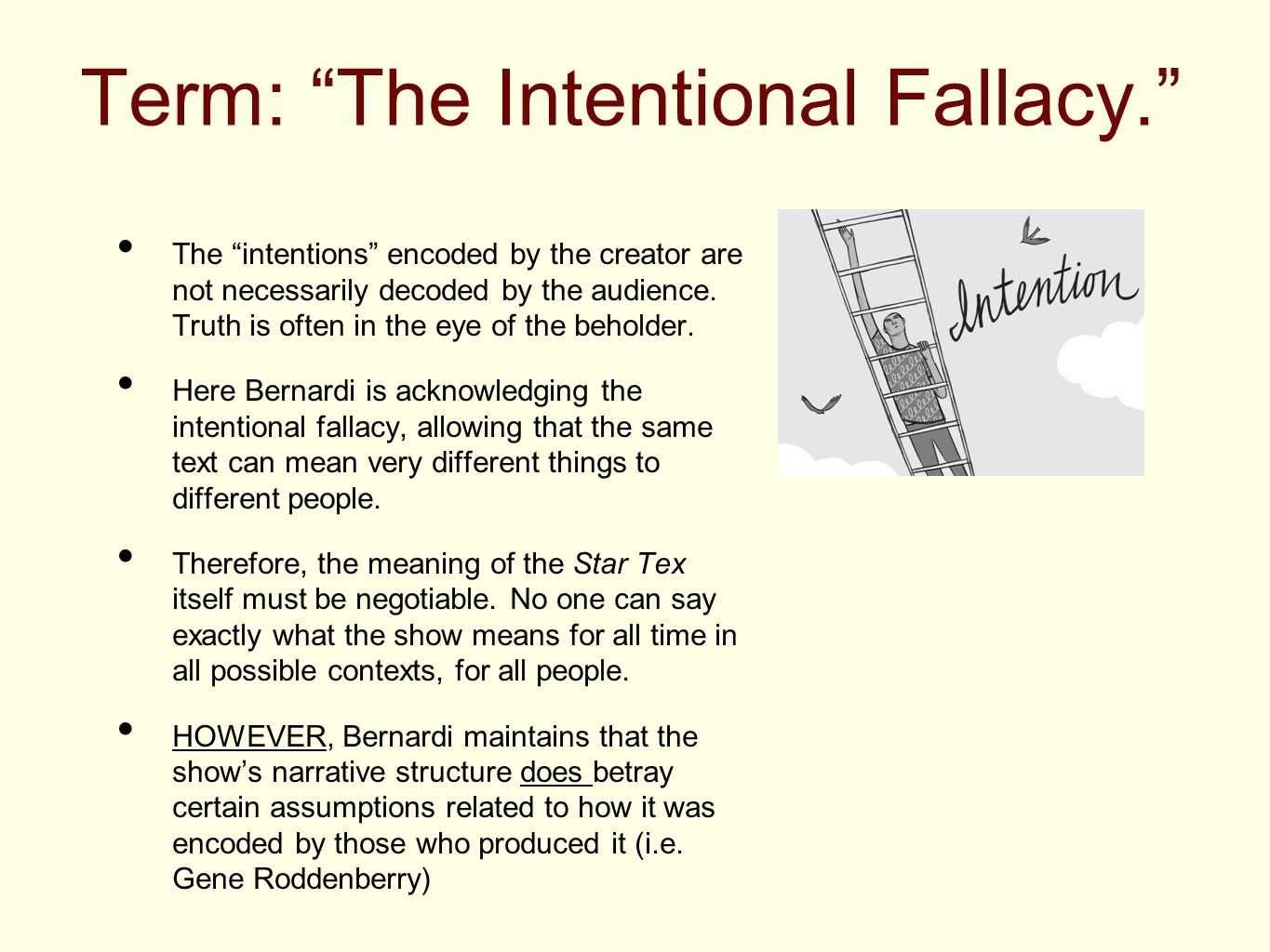 """Term: """"The Intentional Fallacy."""" The """"intentions"""" encoded by the creator are not necessarily decoded by the audience. Truth is often in the eye of the"""
