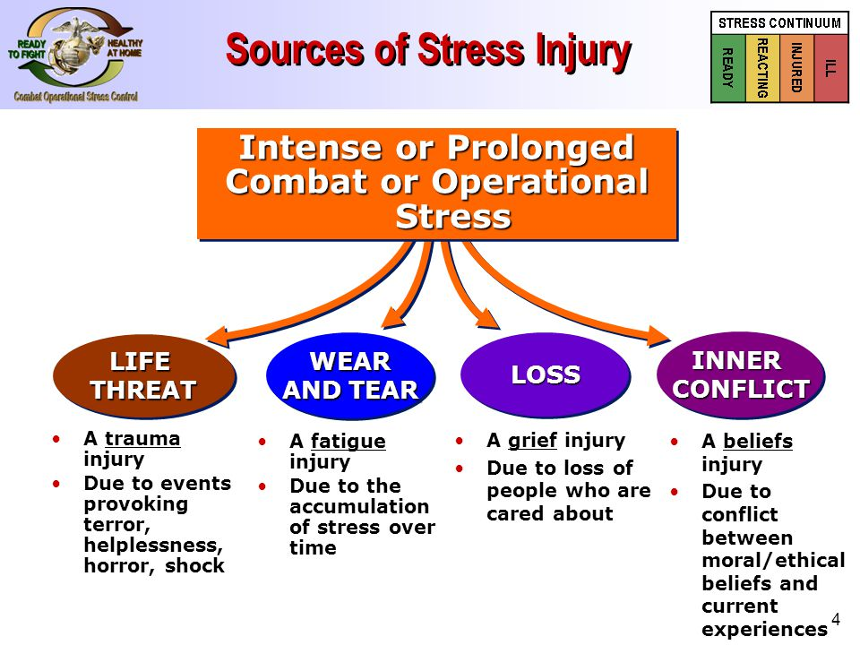 4 Sources of Stress Injury A beliefs injury Due to conflict between moral/ethical beliefs and current experiences A fatigue injury Due to the accumulation of stress over time A grief injury Due to loss of people who are cared about WEAR AND TEAR WEAR LOSSLOSS LIFETHREATLIFETHREAT Intense or Prolonged Combat or Operational Stress Intense or Prolonged Combat or Operational Stress INNERCONFLICTINNERCONFLICT A trauma injury Due to events provoking terror, helplessness, horror, shock