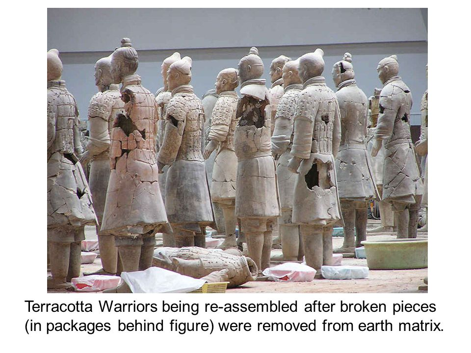 Terracotta Warriors being re-assembled after broken pieces (in packages behind figure) were removed from earth matrix.