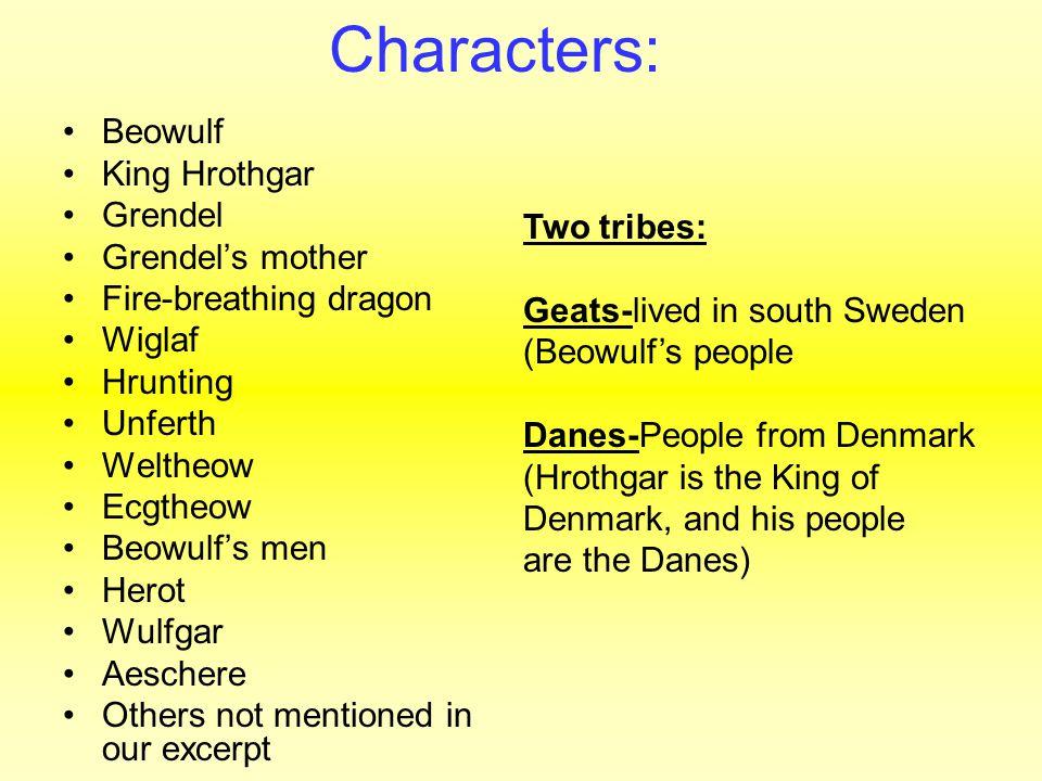Characters: Beowulf King Hrothgar Grendel Grendel's mother Fire-breathing dragon Wiglaf Hrunting Unferth Weltheow Ecgtheow Beowulf's men Herot Wulfgar
