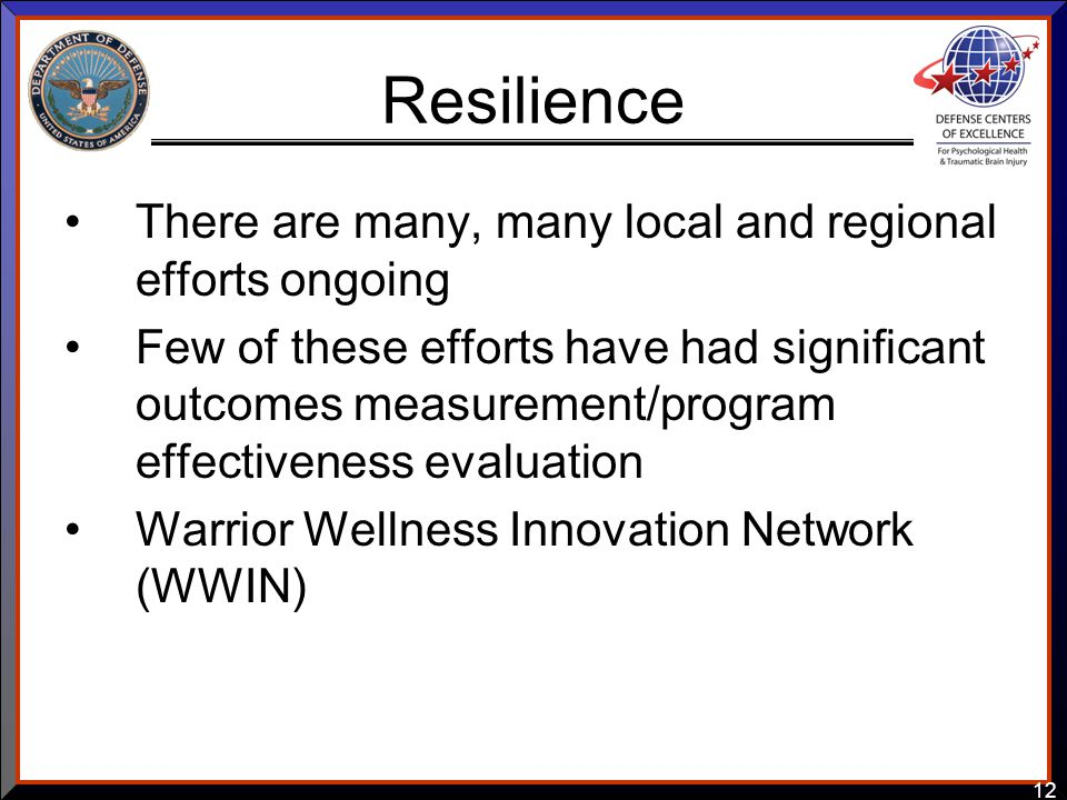 12 Resilience There are many, many local and regional efforts ongoing Few of these efforts have had significant outcomes measurement/program effectiveness evaluation Warrior Wellness Innovation Network (WWIN)