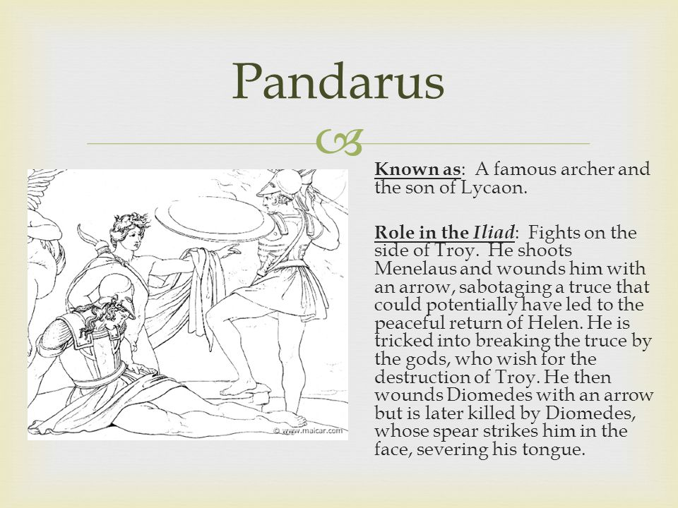  Pandarus Known as : A famous archer and the son of Lycaon.