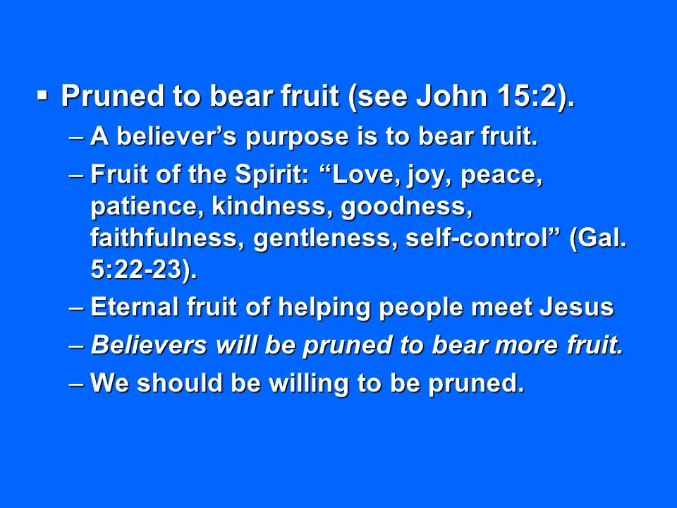 """ Pruned to bear fruit (see John 15:2). –A believer's purpose is to bear fruit. –Fruit of the Spirit: """"Love, joy, peace, patience, kindness, goodness,"""