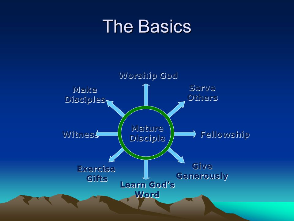 The Basics MatureDisciple Learn God's Word Worship God ServeOthers Fellowship GiveGenerously ExerciseGifts Witness MakeDisciples