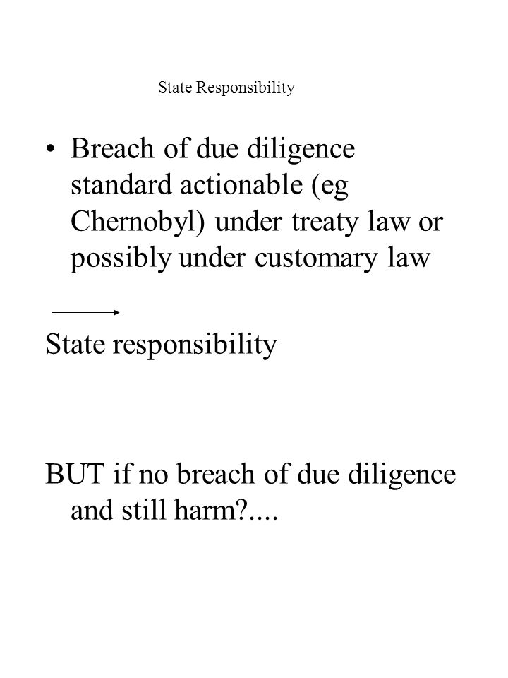 State Responsibility Breach of due diligence standard actionable (eg Chernobyl) under treaty law or possibly under customary law State responsibility