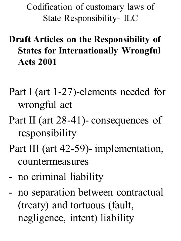 Codification of customary laws of State Responsibility- ILC Draft Articles on the Responsibility of States for Internationally Wrongful Acts 2001 Part