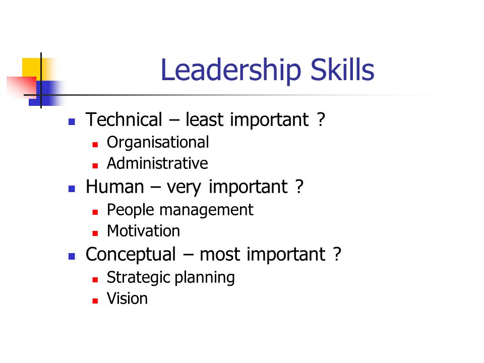 Leadership Skills Technical – least important .