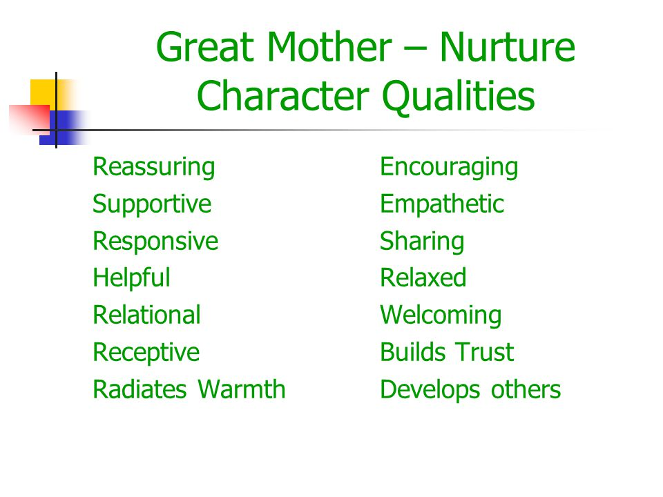 Great Mother – Nurture Character Qualities Reassuring Supportive Responsive Helpful Relational Receptive Radiates Warmth Encouraging Empathetic Sharing Relaxed Welcoming Builds Trust Develops others