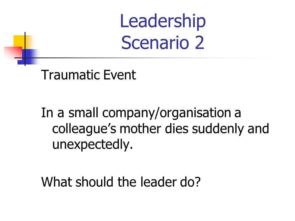 Leadership Scenario 2 Traumatic Event In a small company/organisation a colleague's mother dies suddenly and unexpectedly.