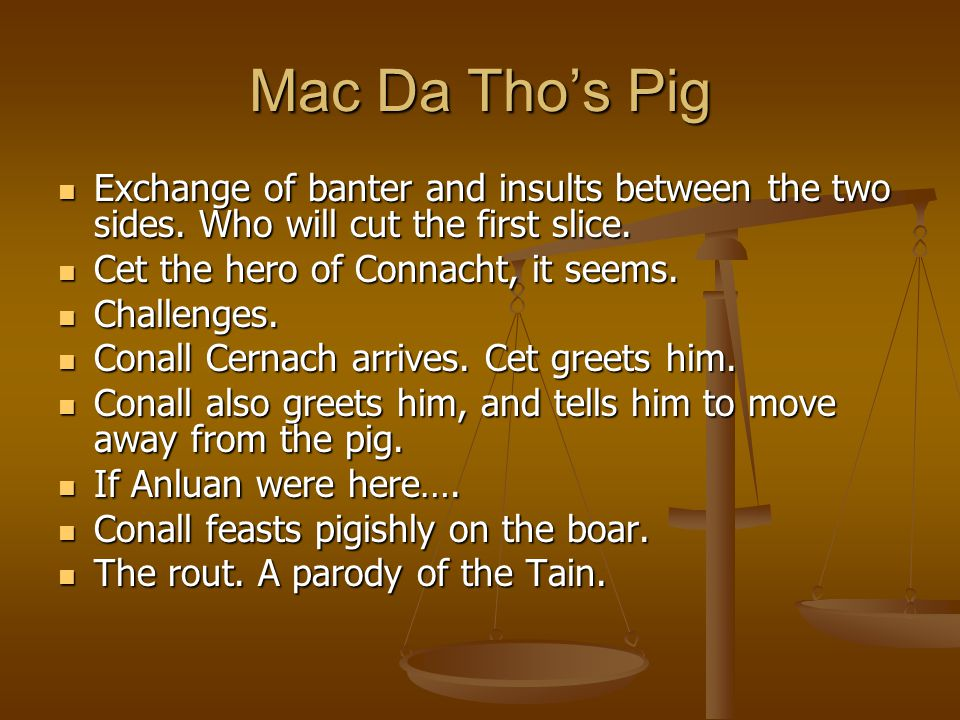 Mac Da Tho's Pig Exchange of banter and insults between the two sides.