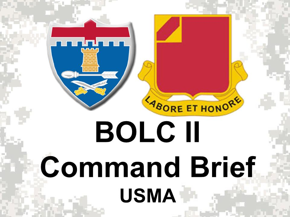 Basic Officer Leader Course (BOLC II) Week 1 – 3 ½ - day Inprocess; Initial Counseling; Diagnostic APFT; CLS; AIMSS; TLPs; PCC/PCIs; Week 2 – Combatives (10 Hrs); Taking Charge ; Small Unit Tactics; BRM Week 3 – M4 Qualification (Day/Night w/ Optics & Laser); CCTT/RVS Week 4 – (TTB) SRM; Urban Ops/CQB w/ Simunitions; Sqd Land Nav Week 5 – (TTB) Squad LFX (BD 1A); Convoy STX; Heavy Weapons Week 6 – (TTB) 96 hour CONOPS/FTX; 10 Mile Foot March Week 7 – Record APFT; Grad Run; Iron Voyager; Counseling; 1 ½ - day Outprocess; Graduation 7 Week Overview