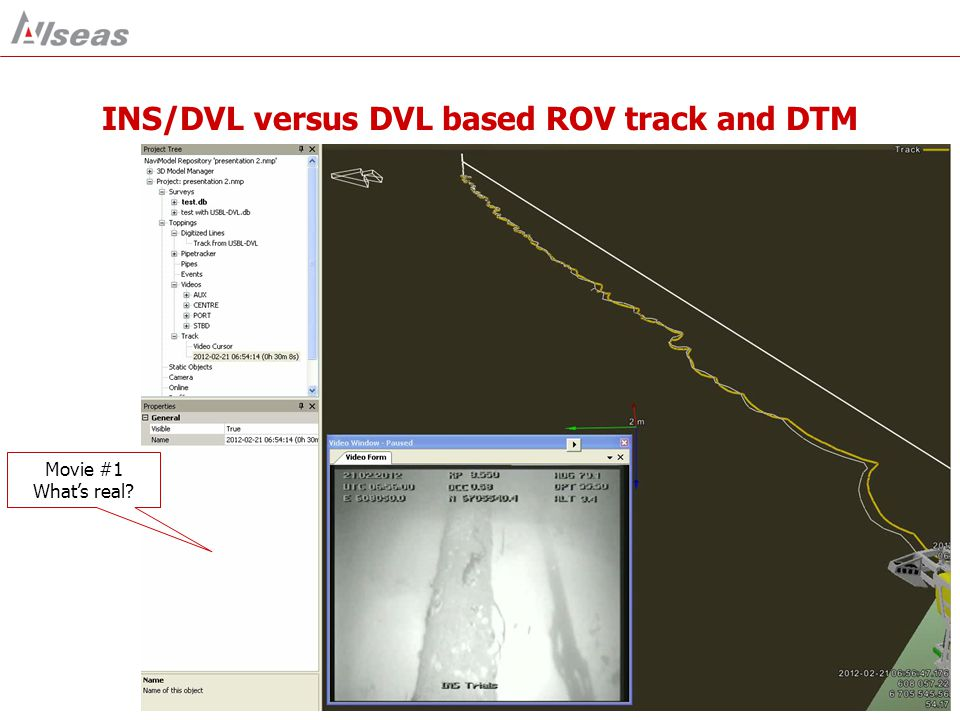 INS/DVL versus DVL based ROV track and DTM Movie #1 What's real?