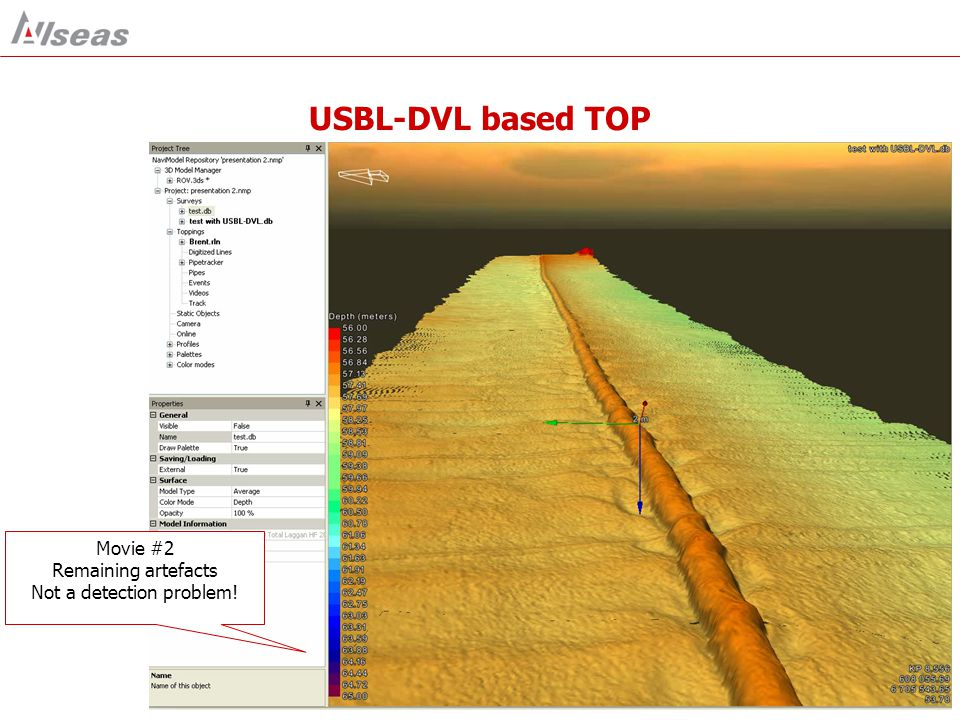 USBL-DVL based TOP Movie #2 Remaining artefacts Not a detection problem!