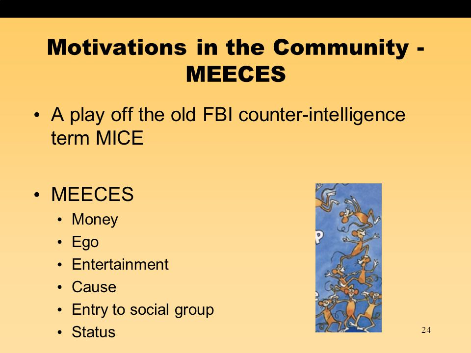 24 Motivations in the Community - MEECES A play off the old FBI counter-intelligence term MICE MEECES Money Ego Entertainment Cause Entry to social gr