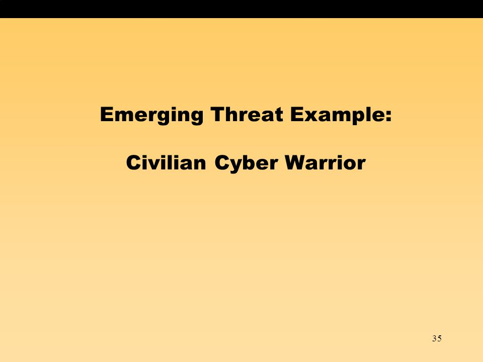 35 Emerging Threat Example: Civilian Cyber Warrior