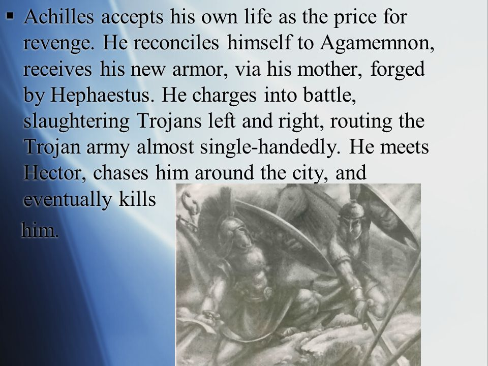  Hector strips his armor and puts it on himself, the Achaeans barely manage to save Patroclus' body from desecration.