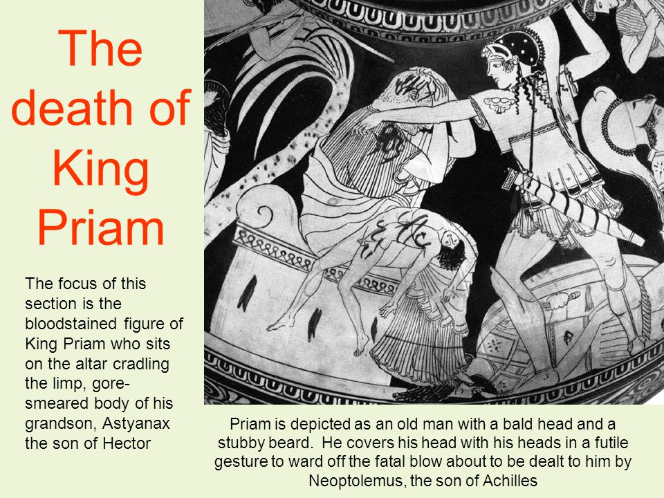 The death of King Priam The focus of this section is the bloodstained figure of King Priam who sits on the altar cradling the limp, gore- smeared body of his grandson, Astyanax the son of Hector Priam is depicted as an old man with a bald head and a stubby beard.