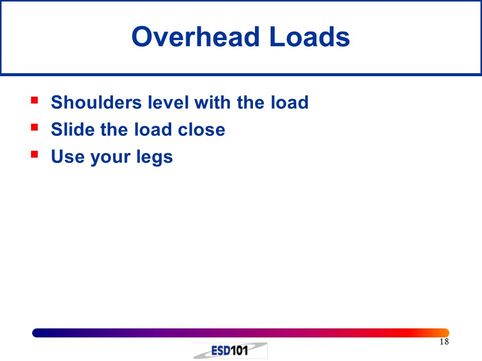18 Overhead Loads  Shoulders level with the load  Slide the load close  Use your legs
