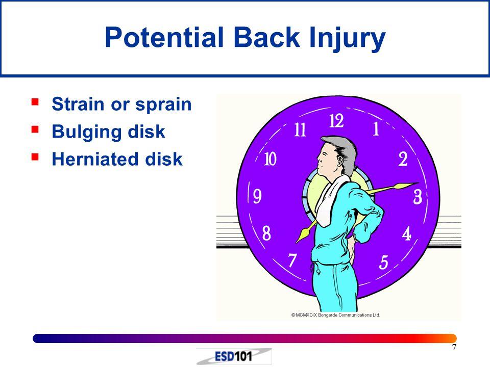 7 Potential Back Injury  Strain or sprain  Bulging disk  Herniated disk